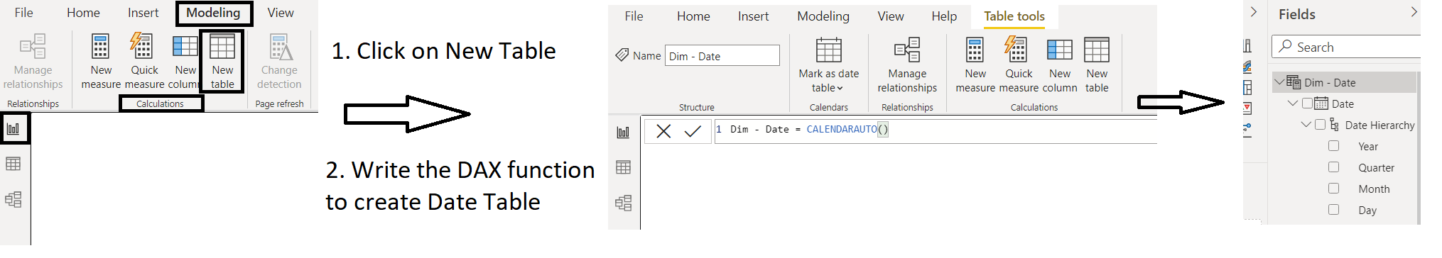 Date Table in Power BI using DAX