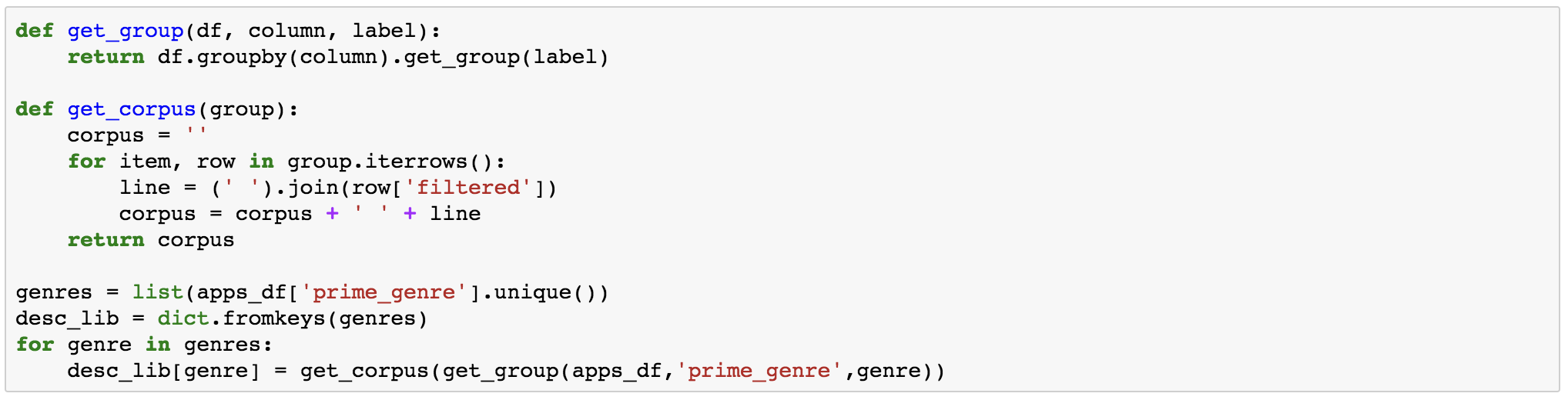 What App Descriptions Tell Us: Text Data Preprocessing in Python