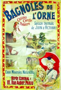 XIXth century advertising poster for the hydrotherapic baths of Bagnoles de l'Orne (France).