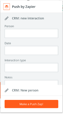 Screenshot of Zapier Push, a Chrome extension that connects Zapier Zaps to the Chrome address bar