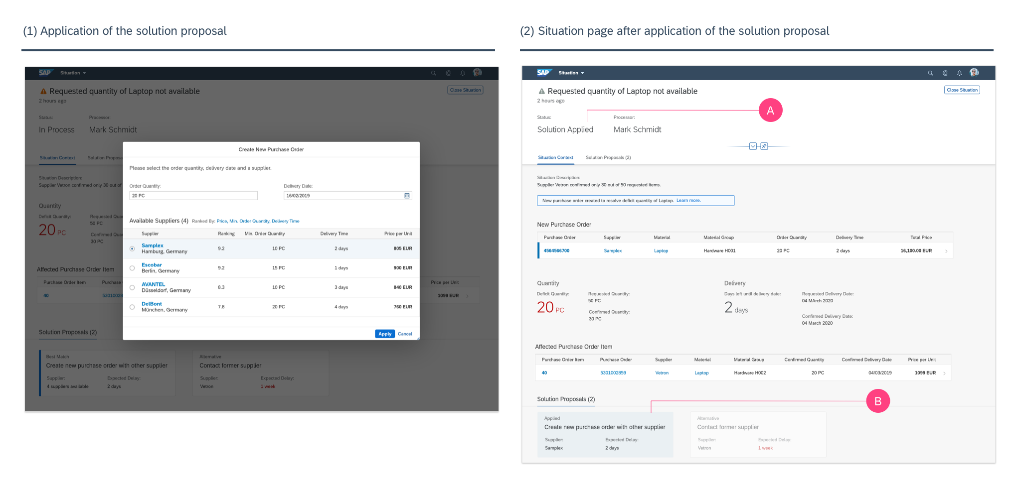 Design exploration—Screen sequence for applying a solution proposal (Copyright: SAP SE)