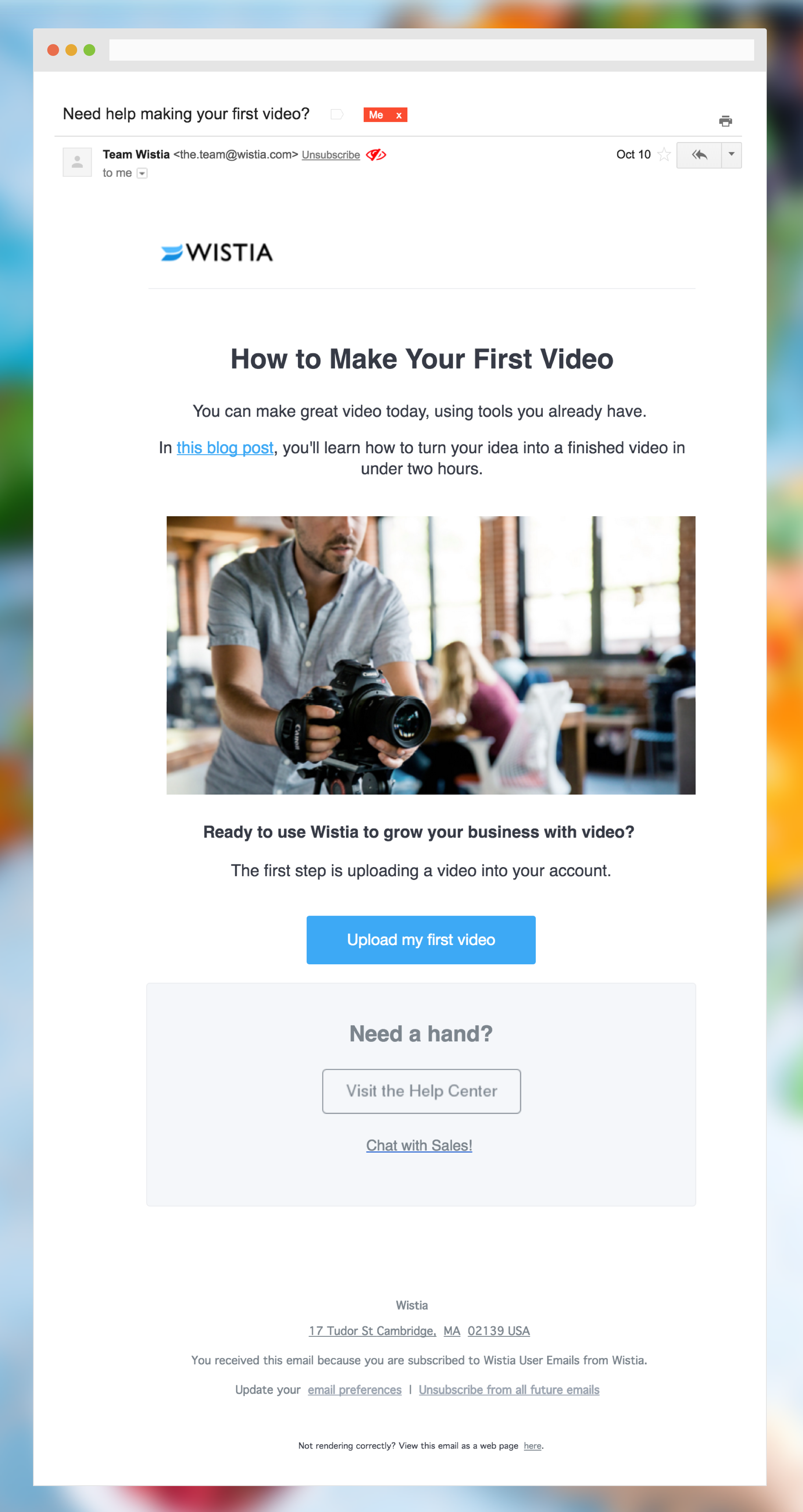 How Wistia sends onboarding email - Aloha — Welcome Emails