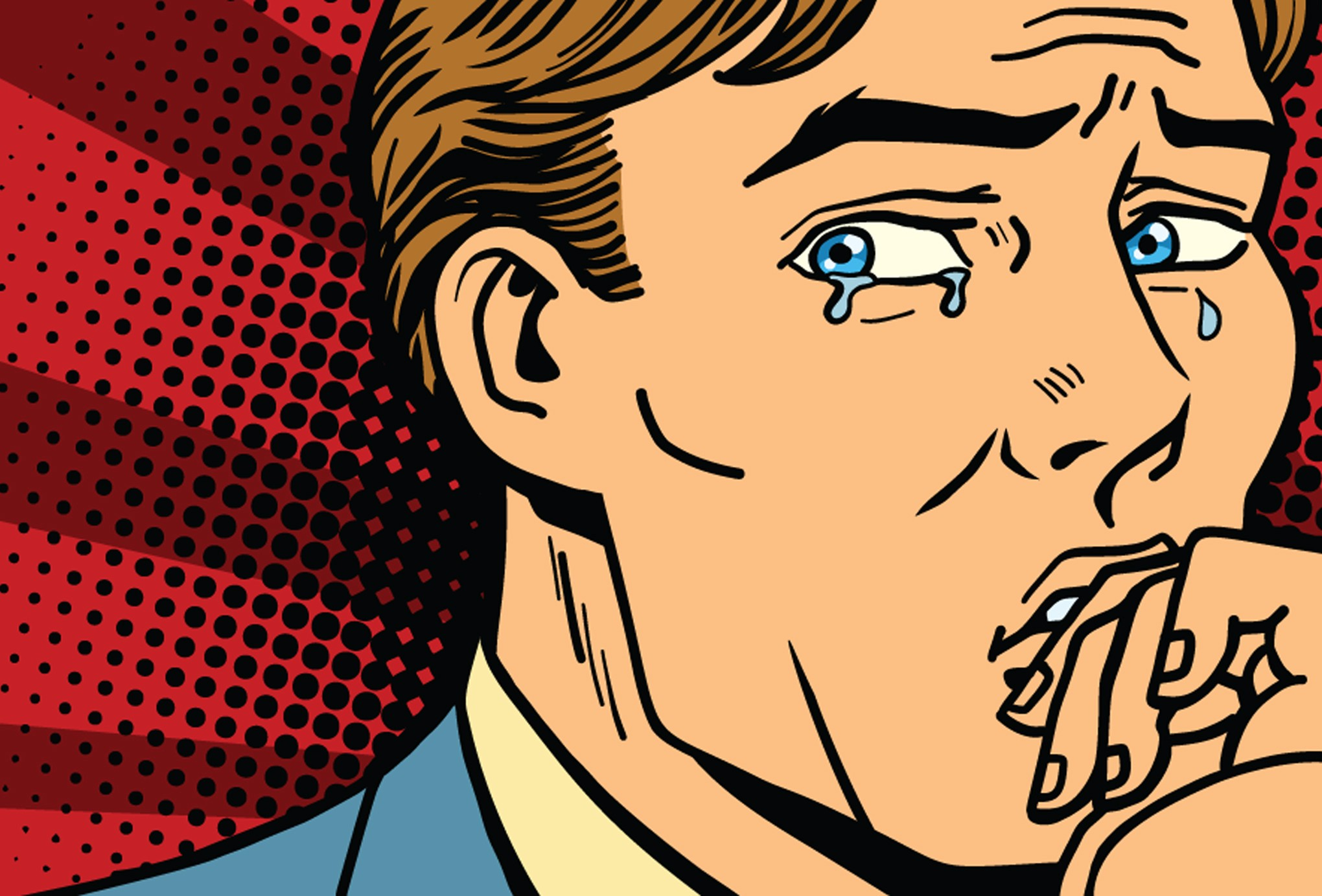 Retro style comic image of professional looking white man crying.