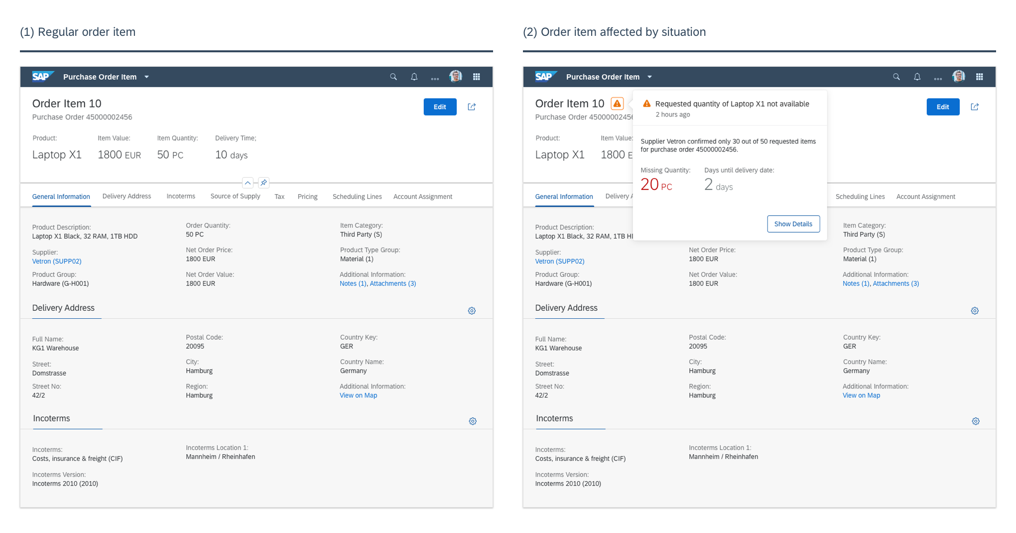Design exploration—Purchase order item screens with and without situation indicator (Copyright: SAP SE)