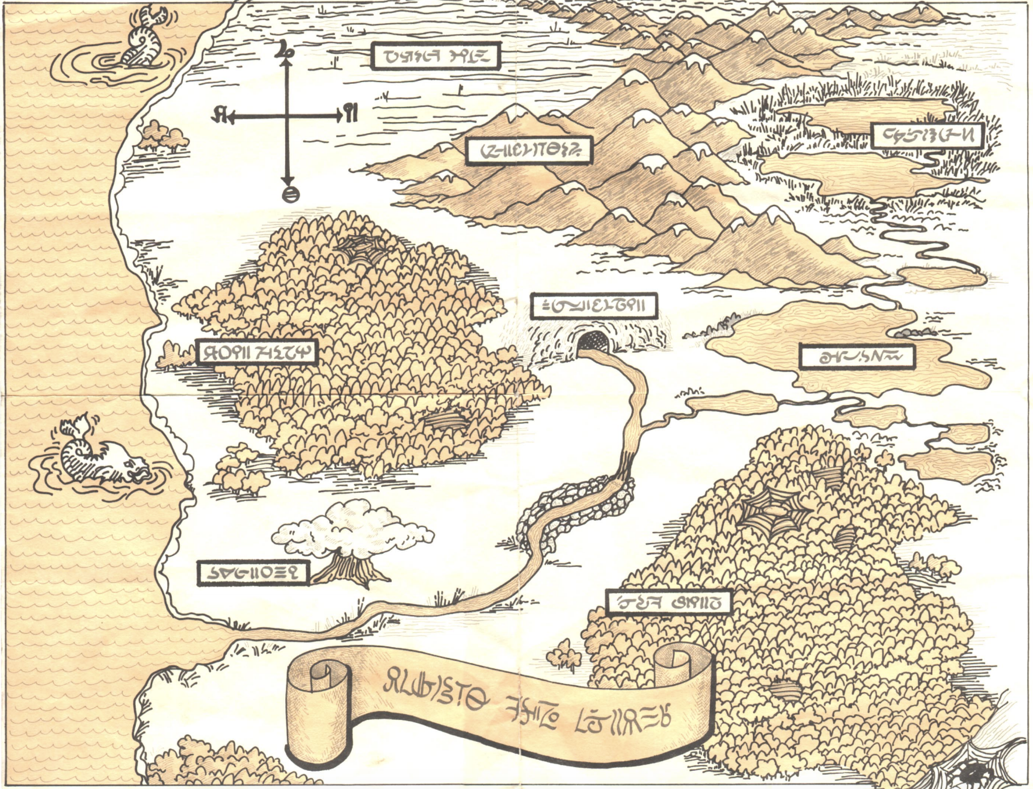 An imaginary map drawing portraying the Great Underground Empire from Zork, drawn in a fantasy style with made up locations.