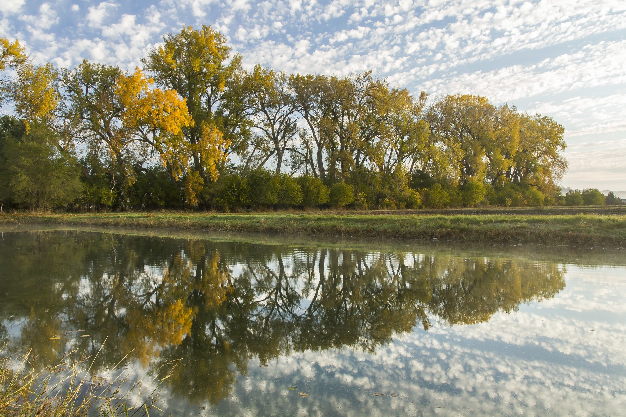 A cloudy blue sky and trees with yellow leaves are reflected in calm waters.