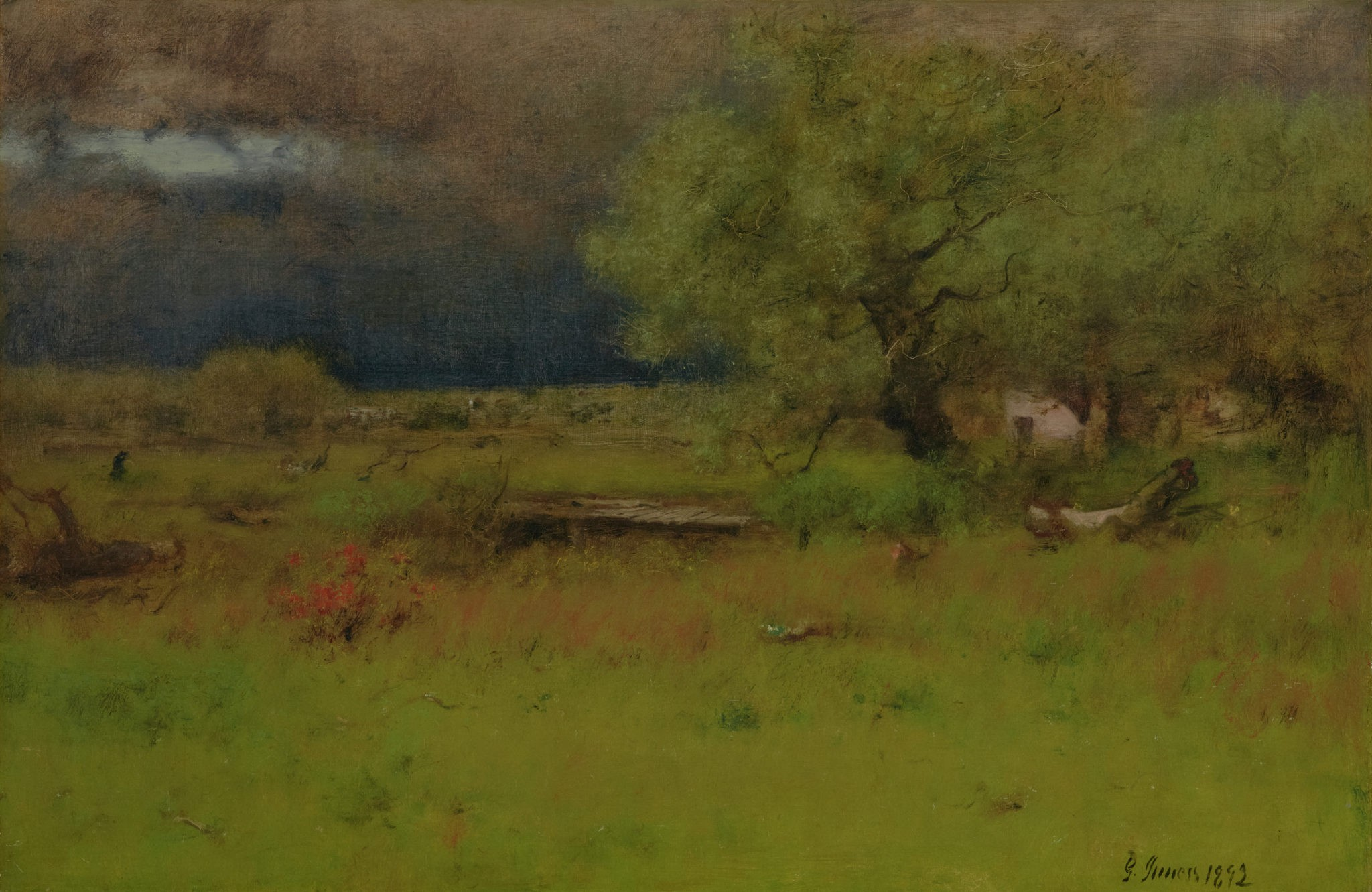 Painted grassy landscape covered in green with a dark gray sky.