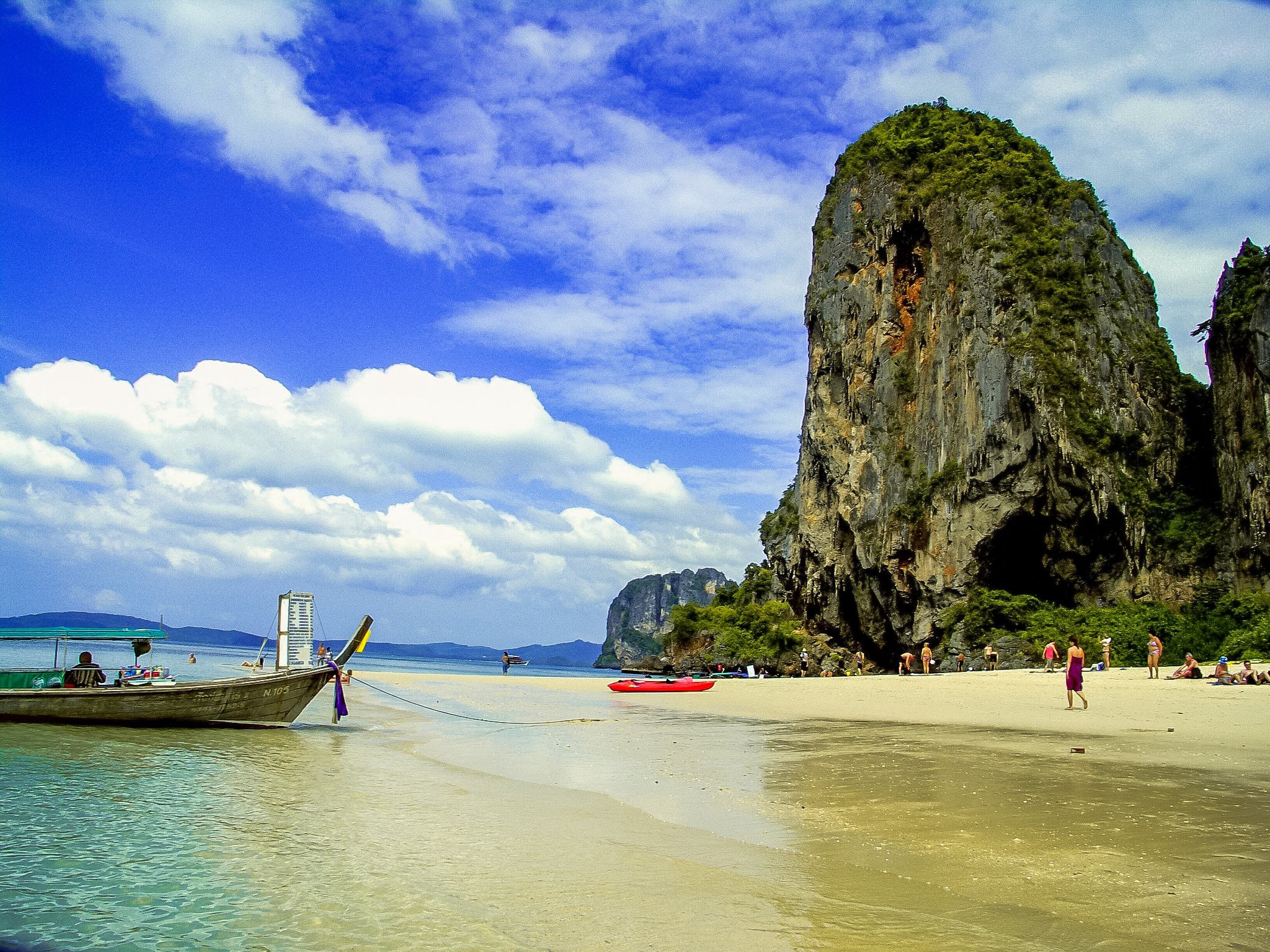 Phra Nang is the beautiful beach with Limestone Mountain and cliff.