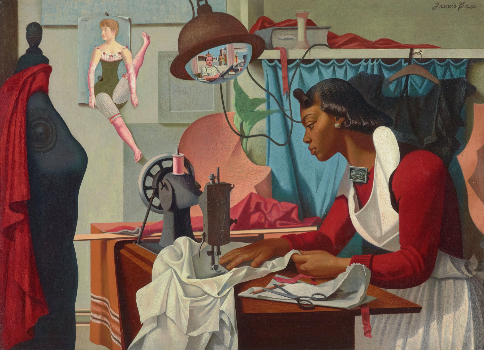 Painting of a black woman with emphasized, powerful hands working at her sewing desk.