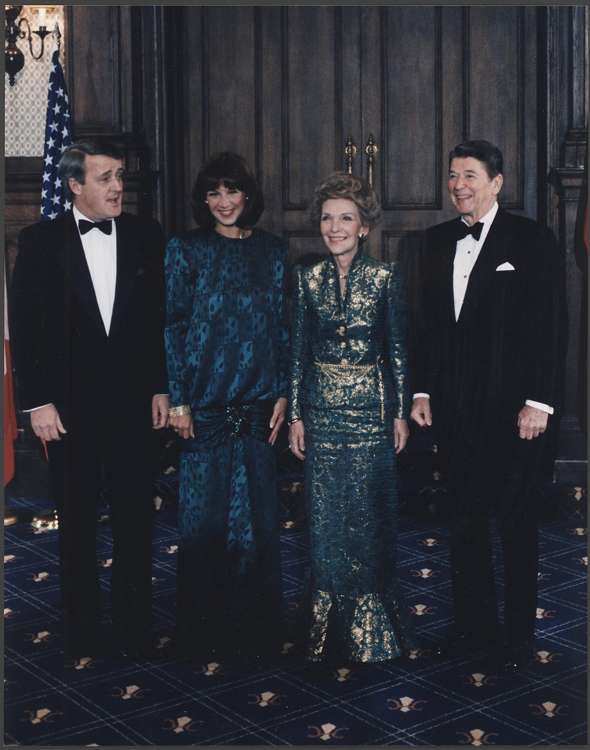 ex Canadian PM Brian Mulroney with wife Mila and Ron and Nancy Reagan