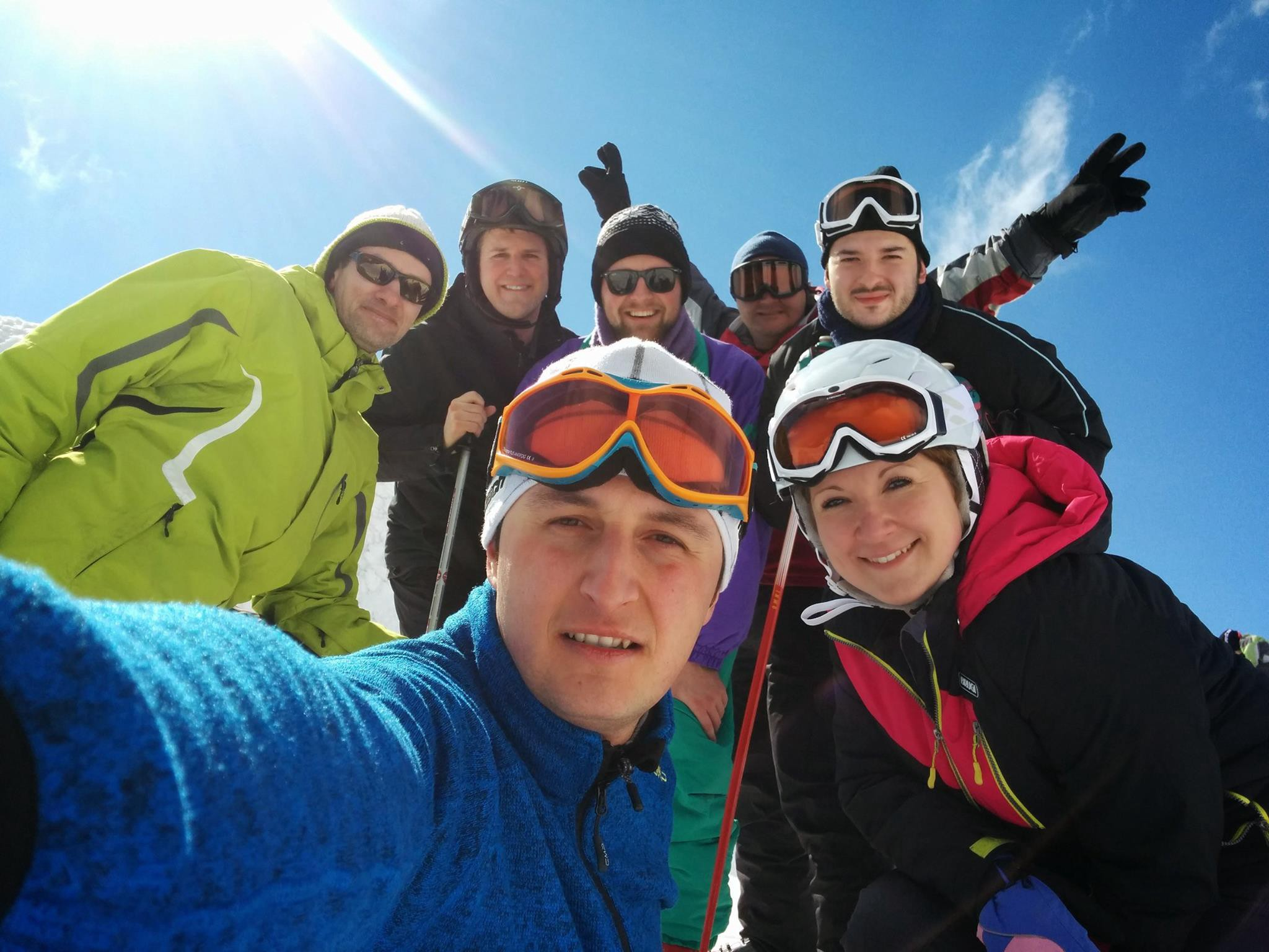 Personal team selfie at the top of Mt Bjelašnica, Sarajevo—the home of the 1984 Winter Olympics men's downhill run.