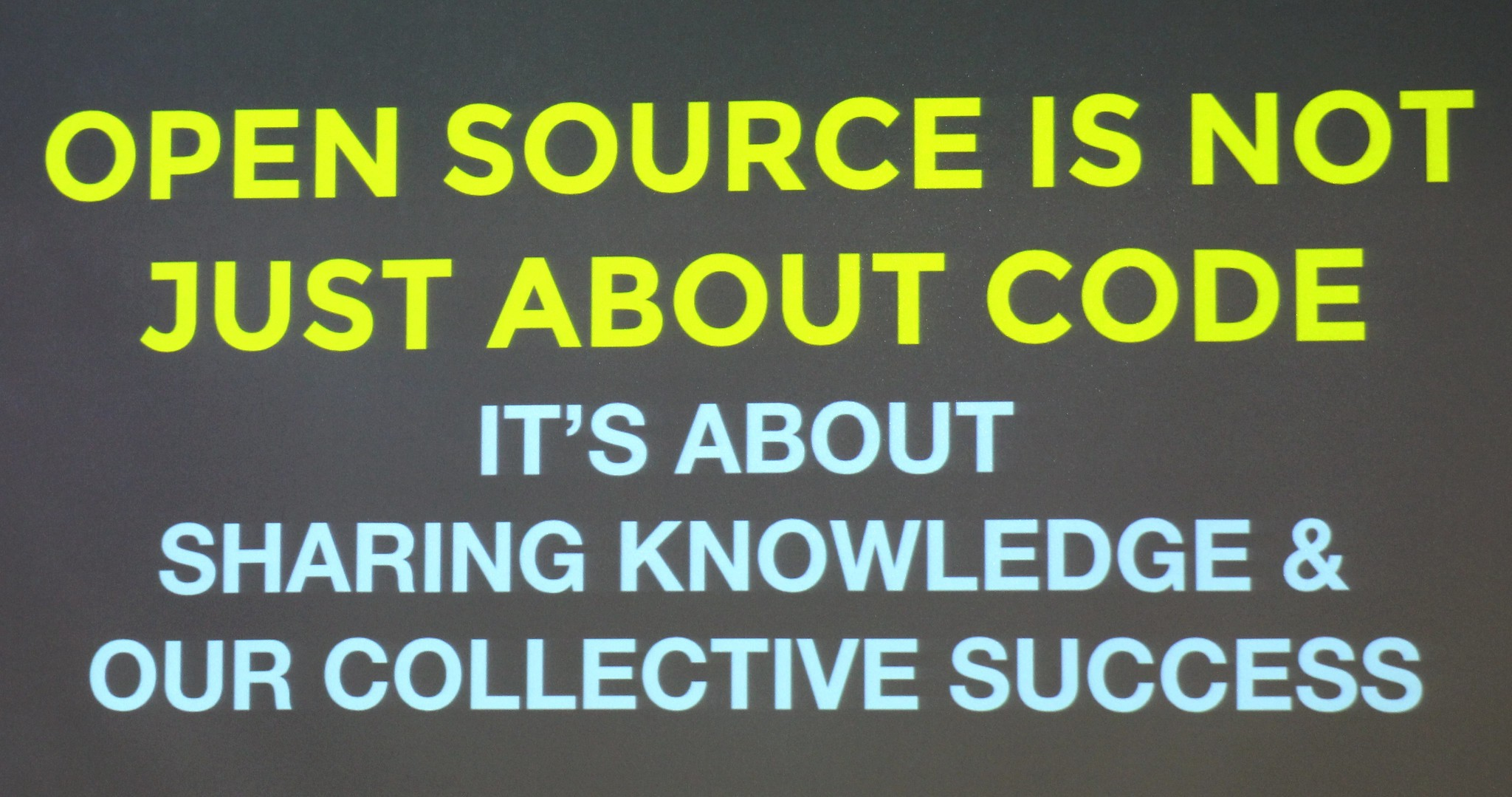 Open source is not jut about code: It's about sharing knowledge and our collective success.