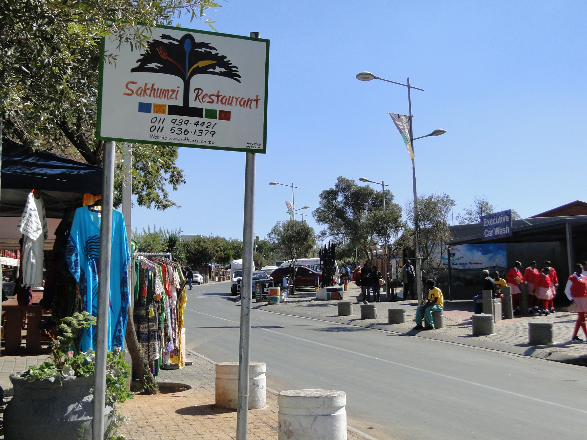 The colorful Vilakazi Street outside Sakhumzi Restaurant. Photo by Karla J. Strand. All rights reserved.
