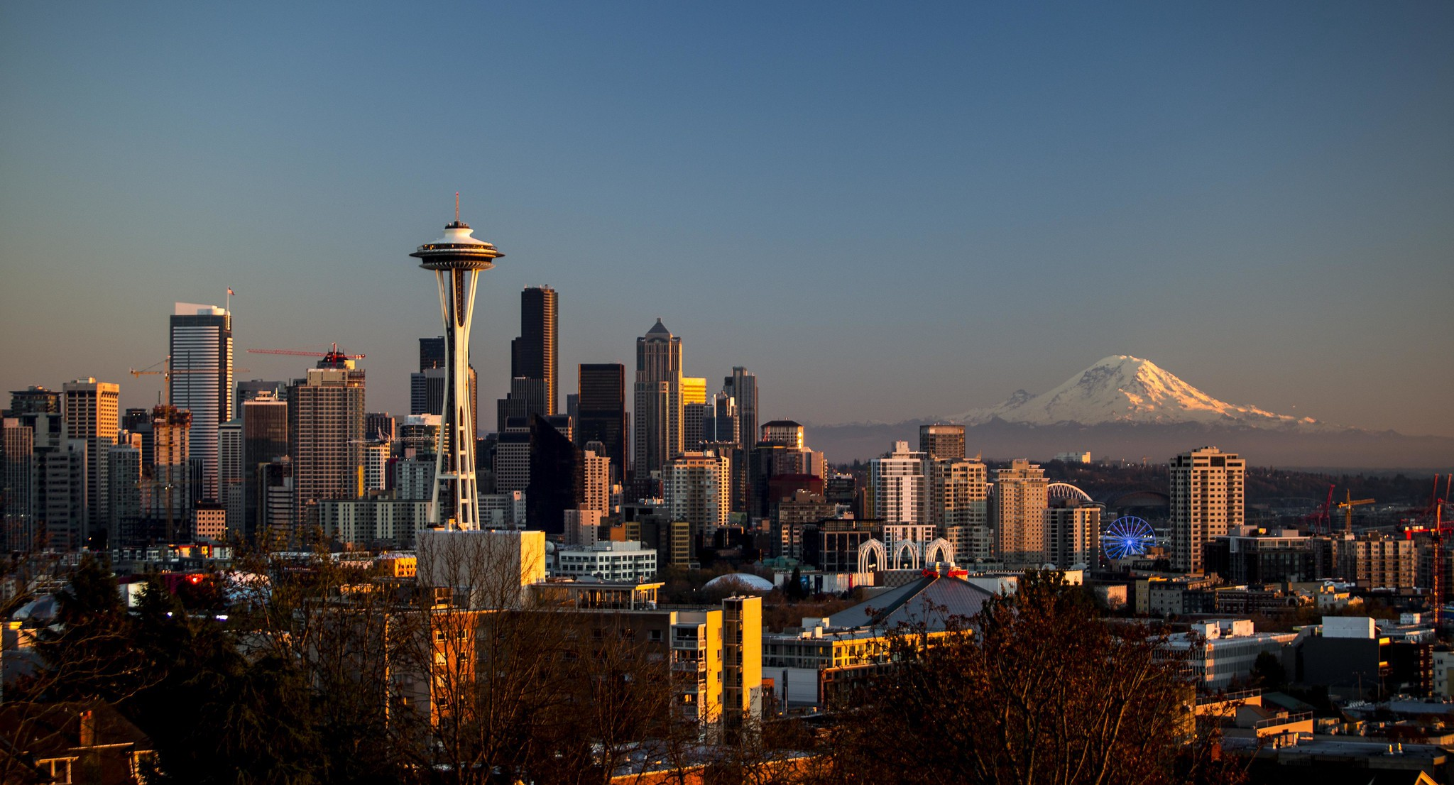 Space Needle Tower and Seattle Downtown