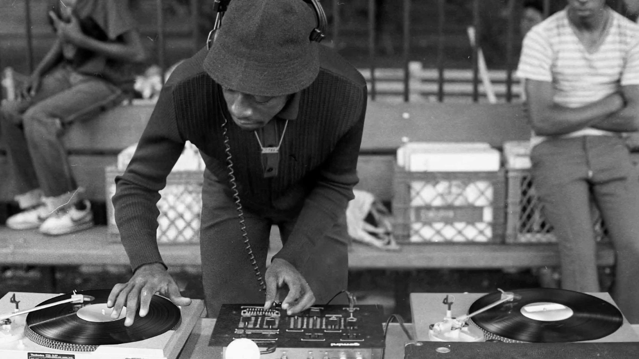 DJ working at a turntable