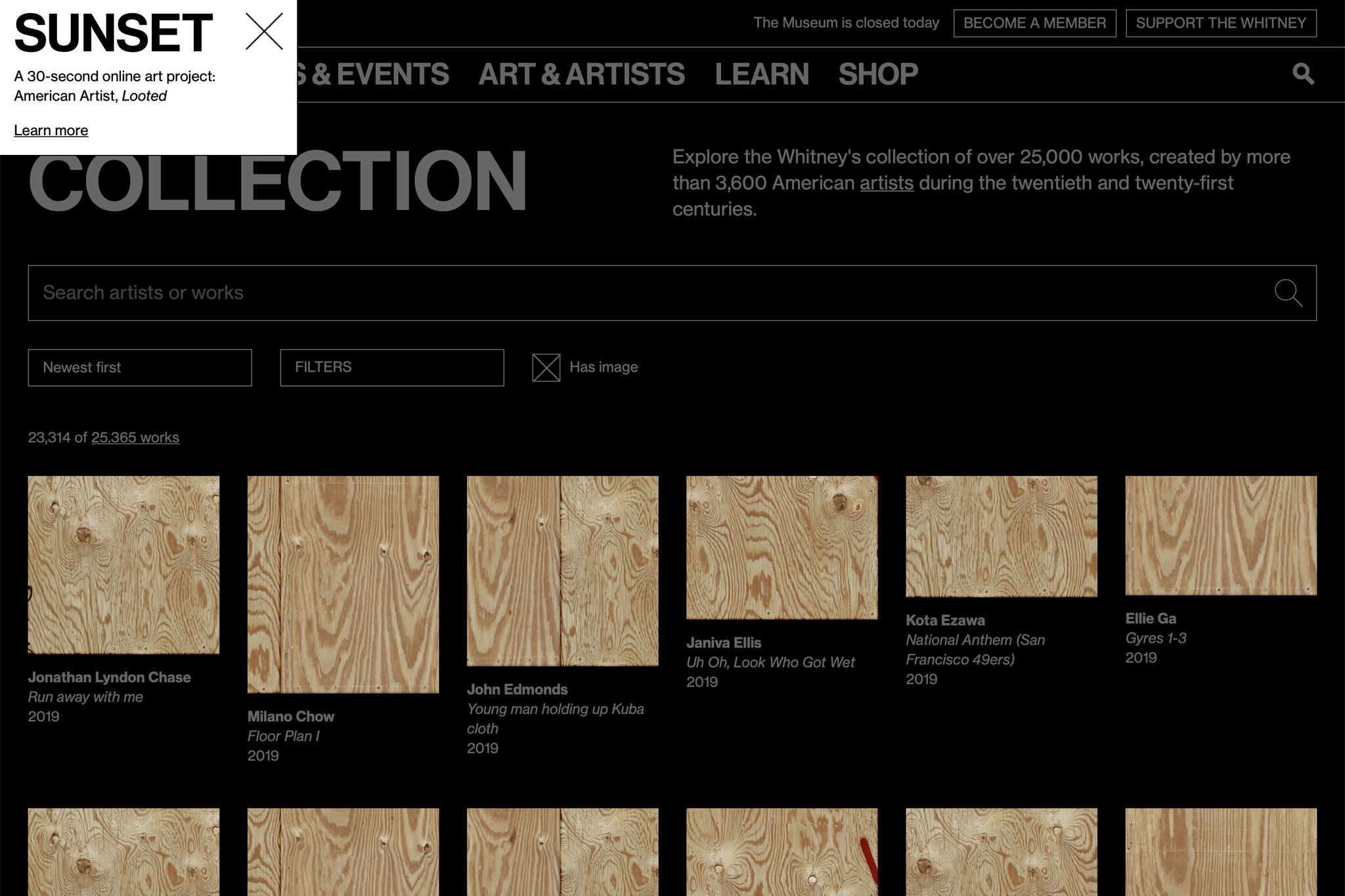 Images of artworks on the online collection replaced with wooden boards, over a black background and greyed-out text