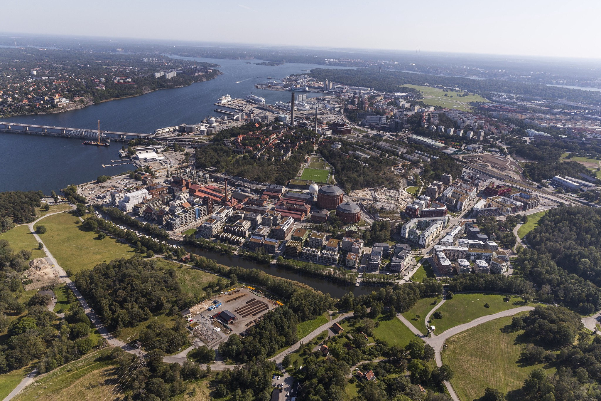 An aerial view of the Royal Seaport development in Stockholm, looking south.