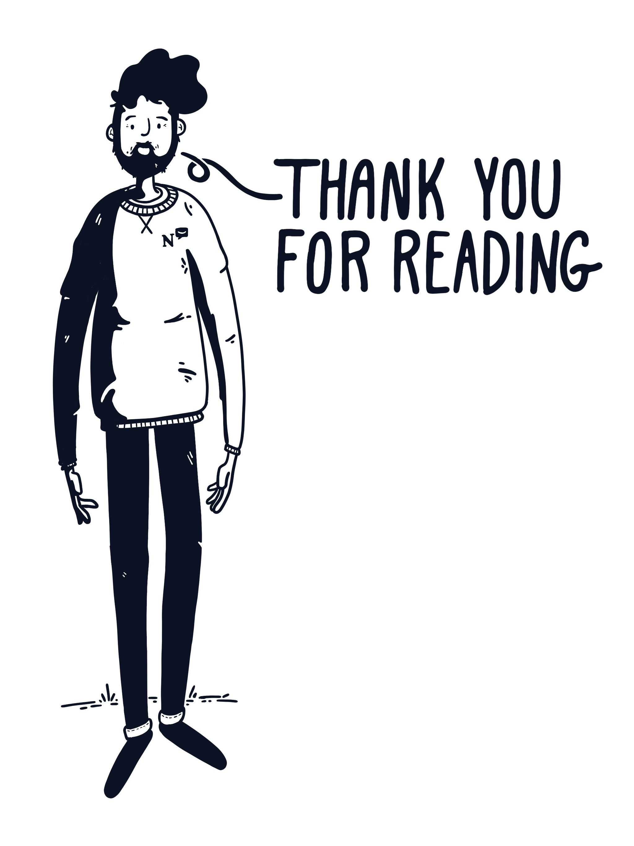 """An illustration of me saying """"Thank you for reading"""""""