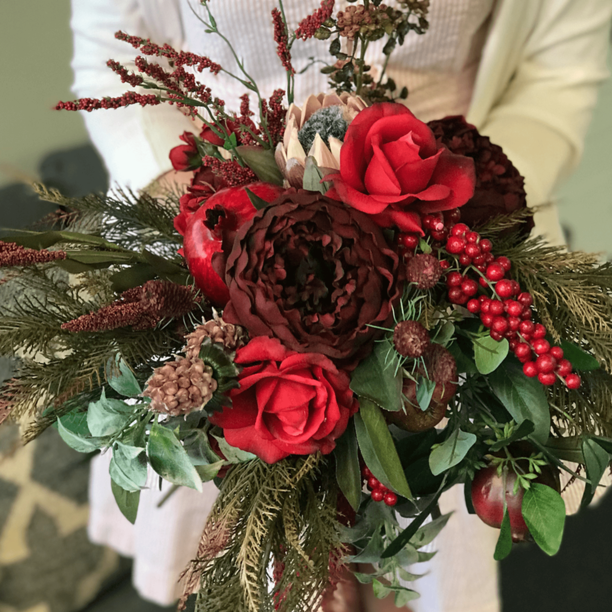 Buy Royal Red Bridal Bouquet Online Faux Real Flower Medium