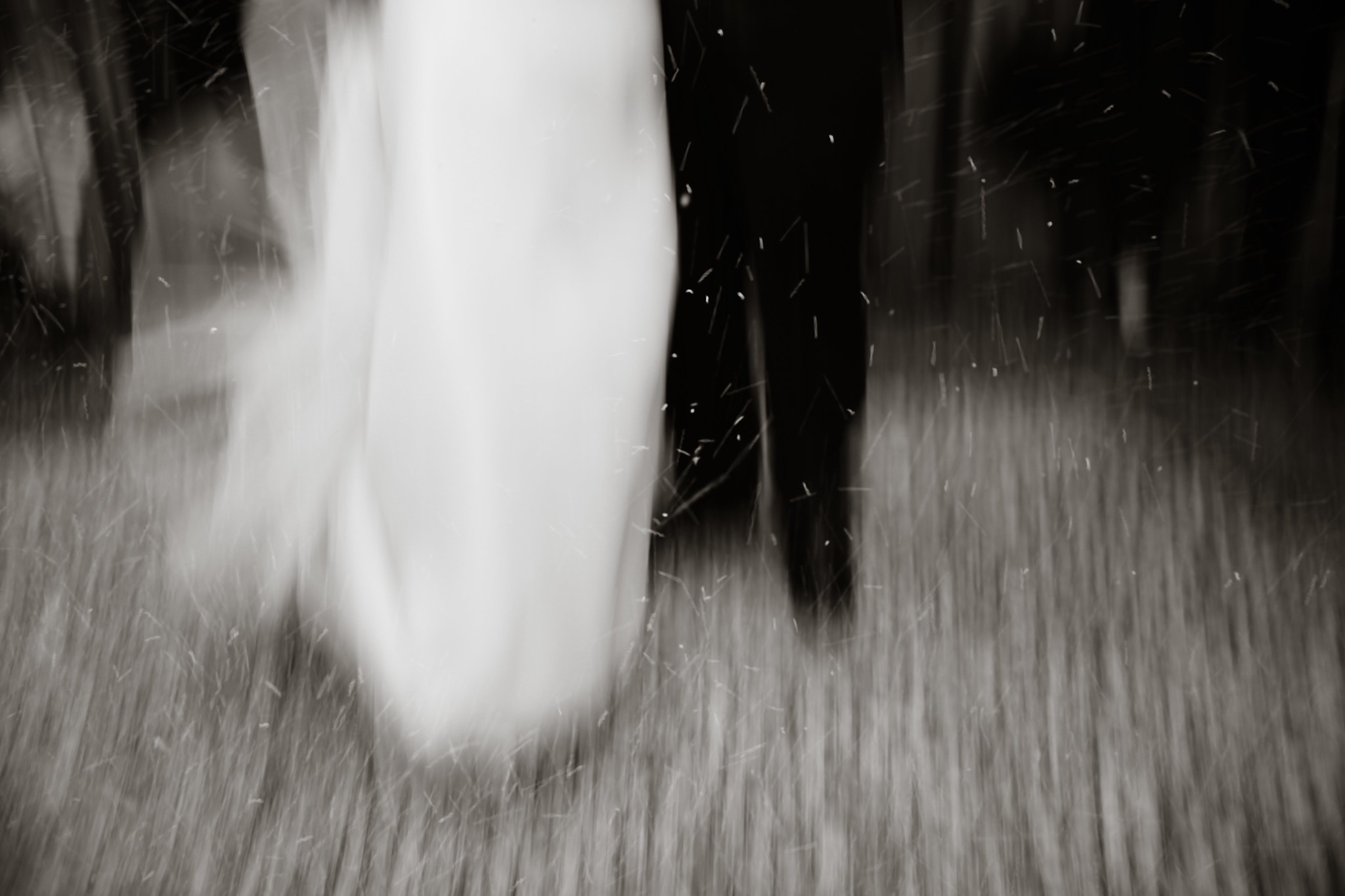 A blurry black-and-white image of a presumable bride and groom (the dress and black pants).
