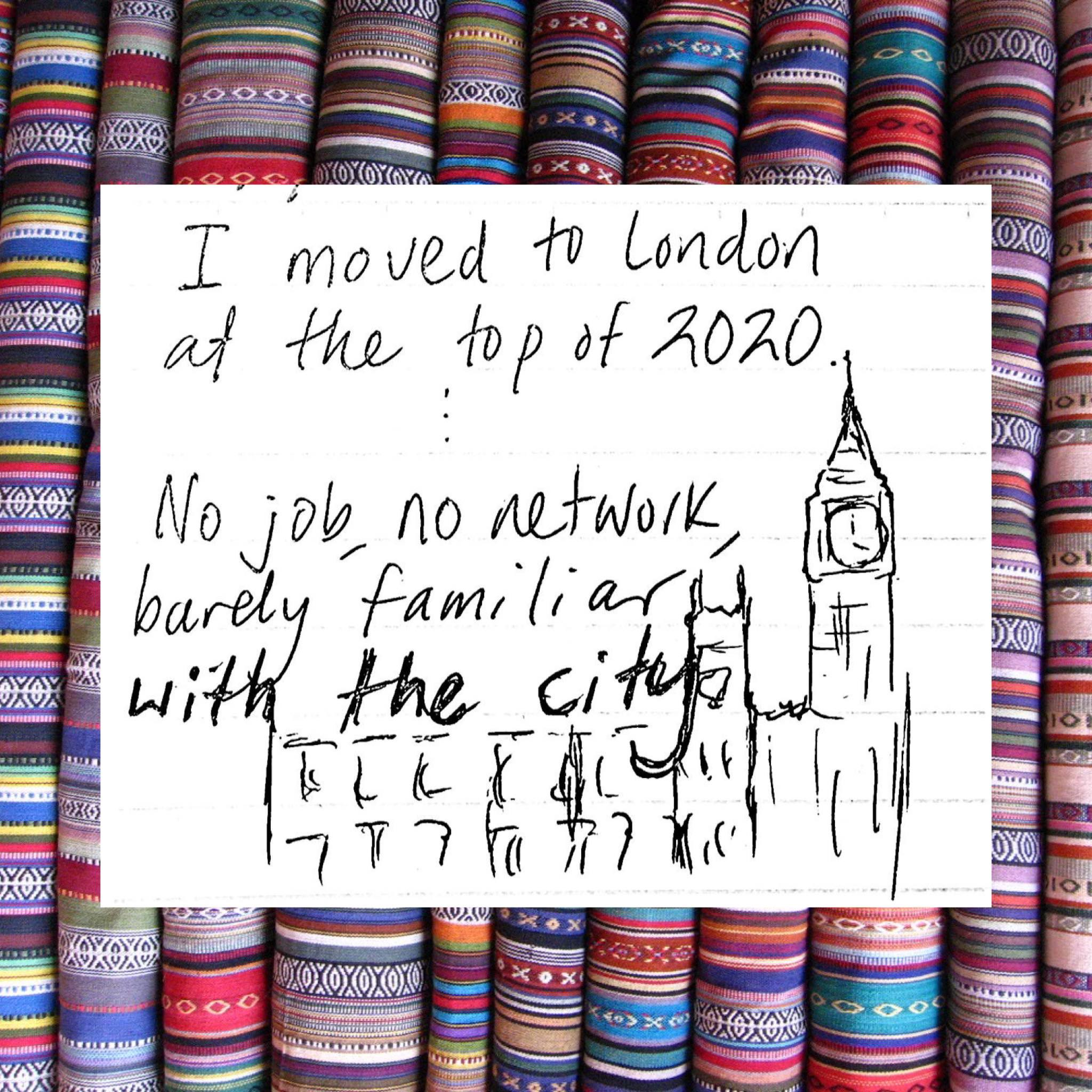Same background has a white square with a sketch of Big Ben and handwritten text, read in the photo caption.
