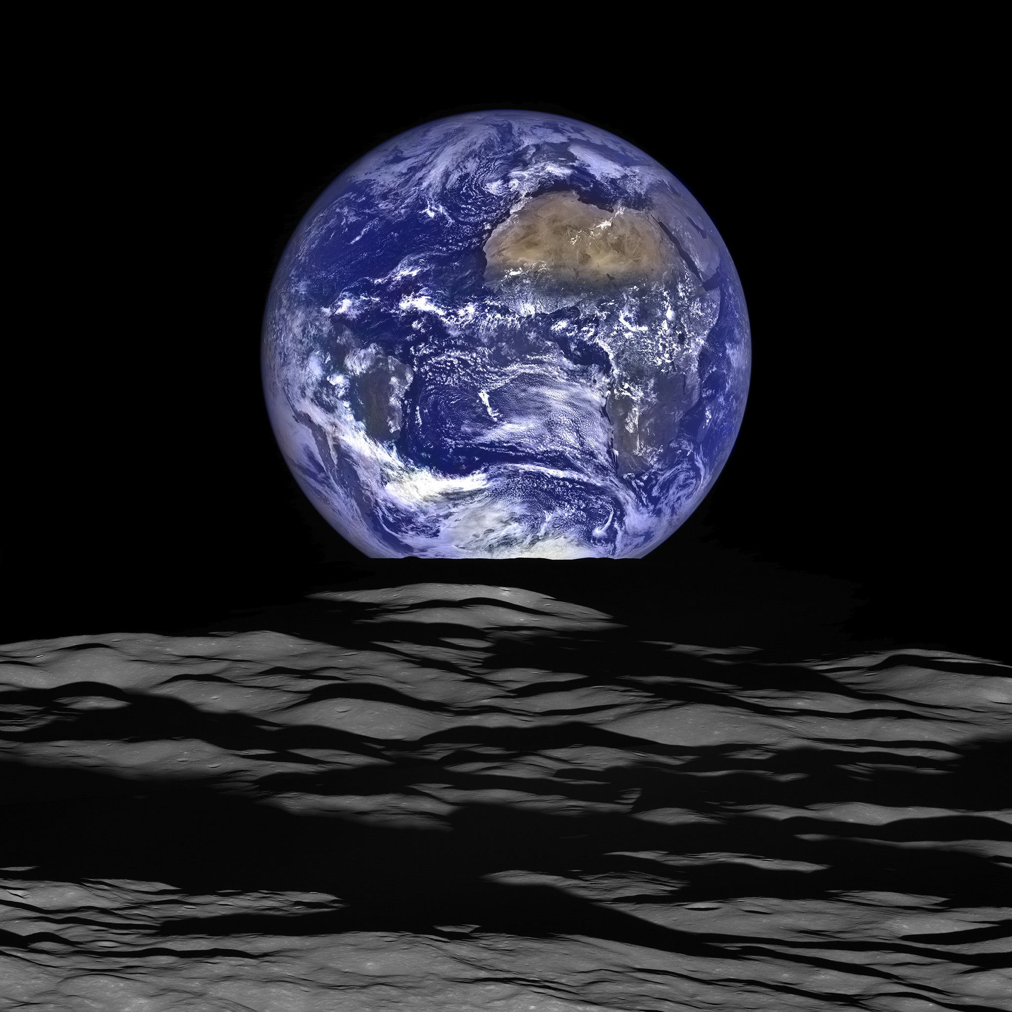 Real photo of Earth as viewed by Lunar Reconnaissance Orbiter (LRO)