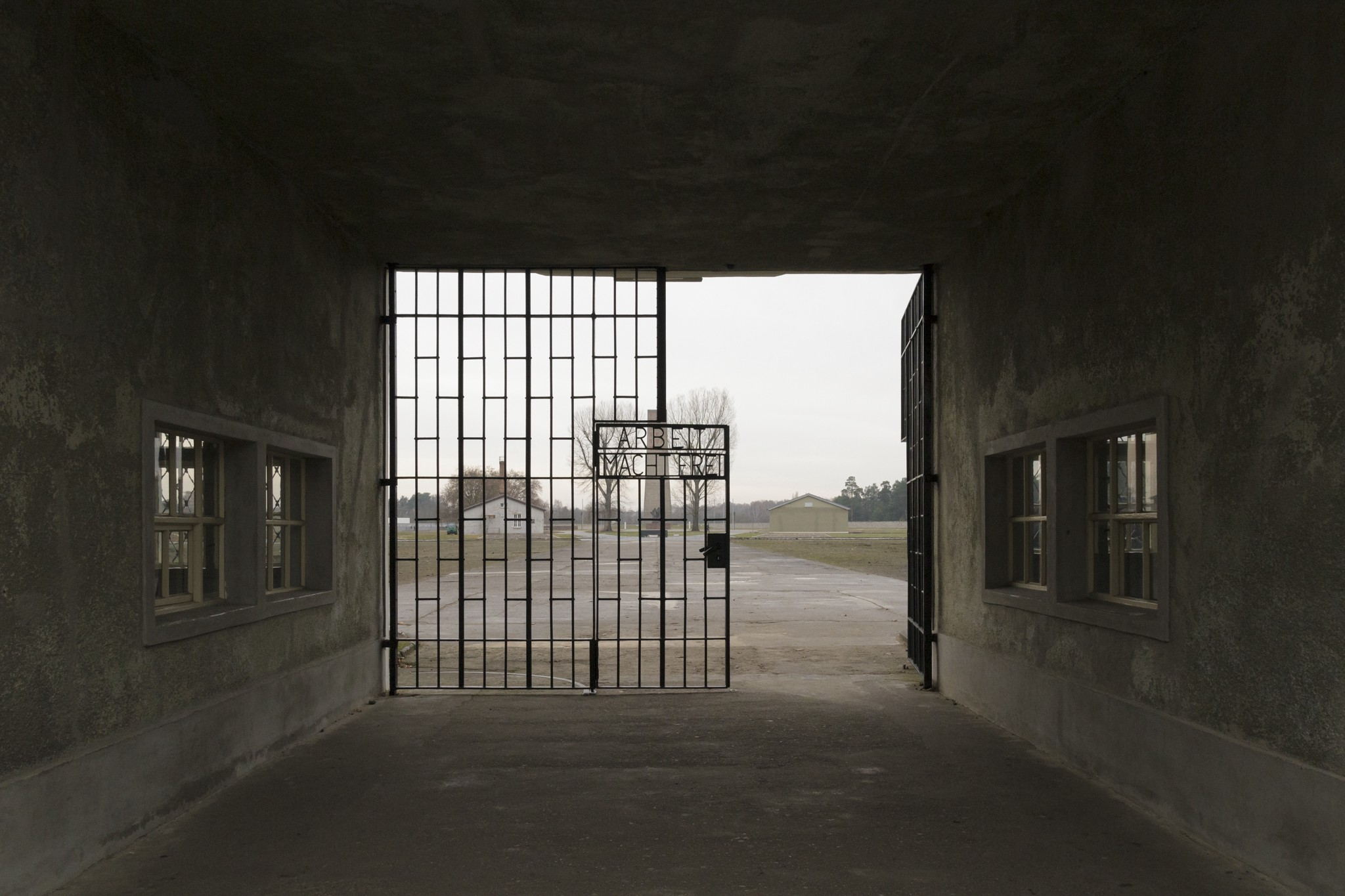 The entrance gate to Sachsenhausen