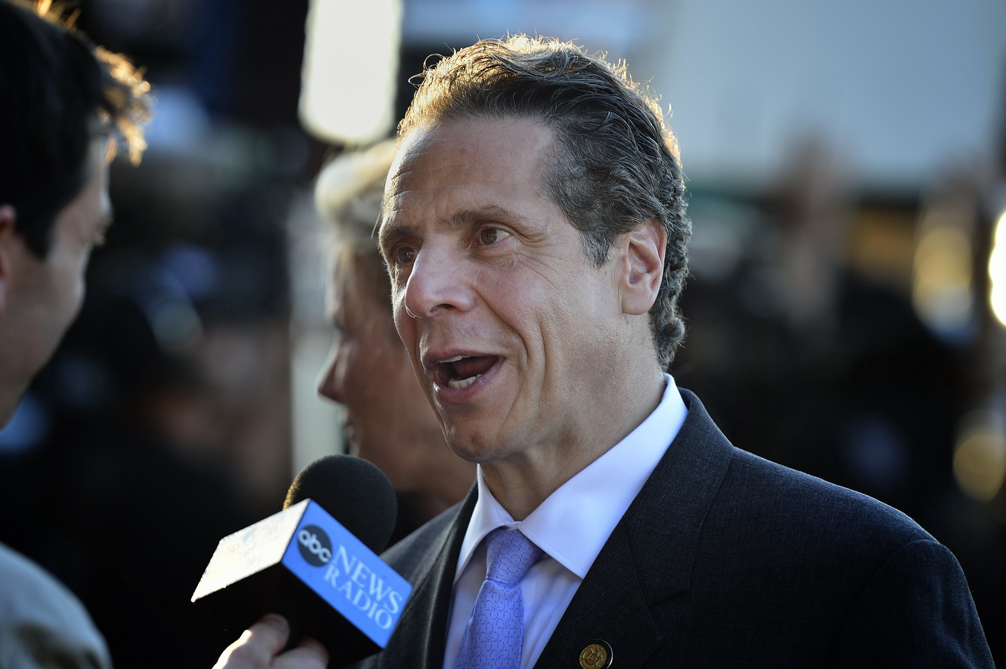 New York Governor Andrew Cuomo being interviewed by a reporter