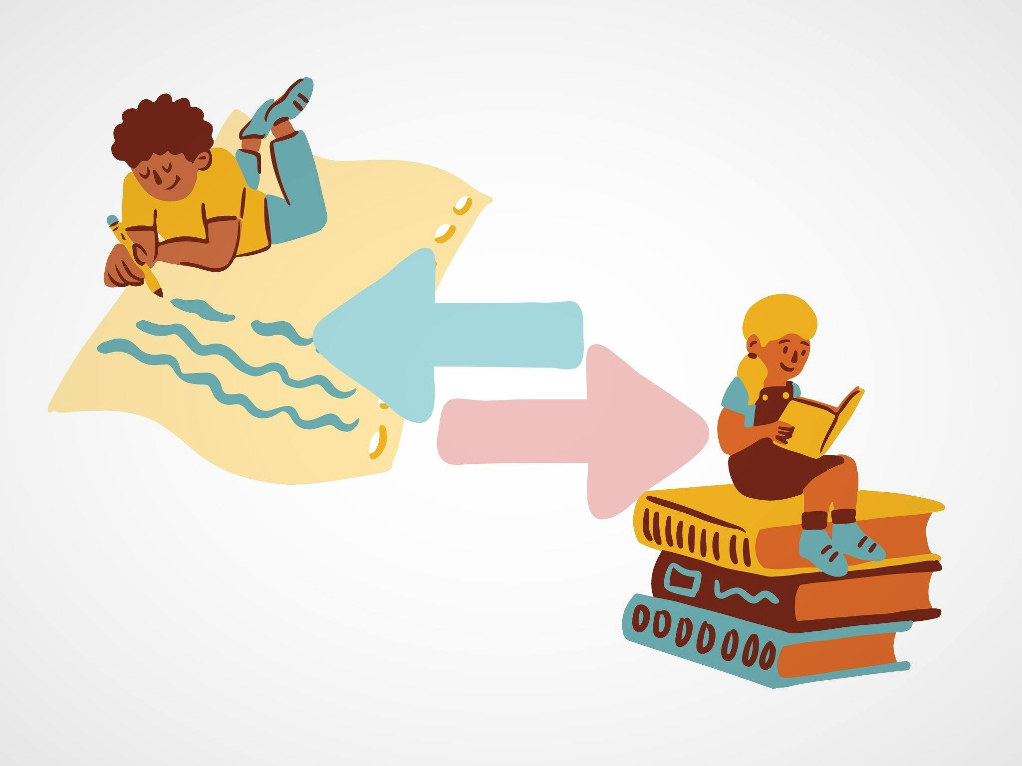 Illustration of a writer and reader connected.