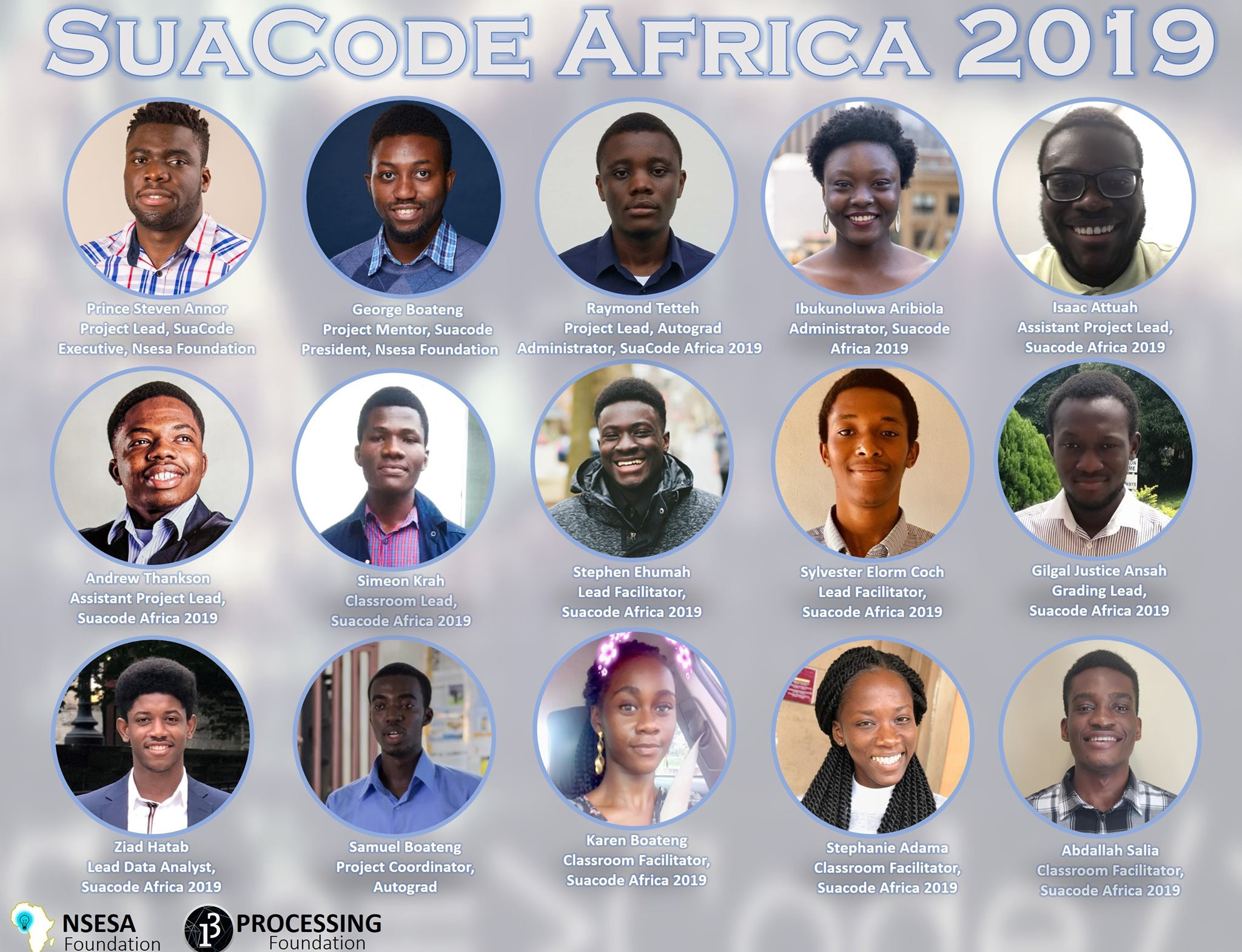 Portraits of the 15 team members of SuaCode Africa in individual circles, with their names and job descriptions.