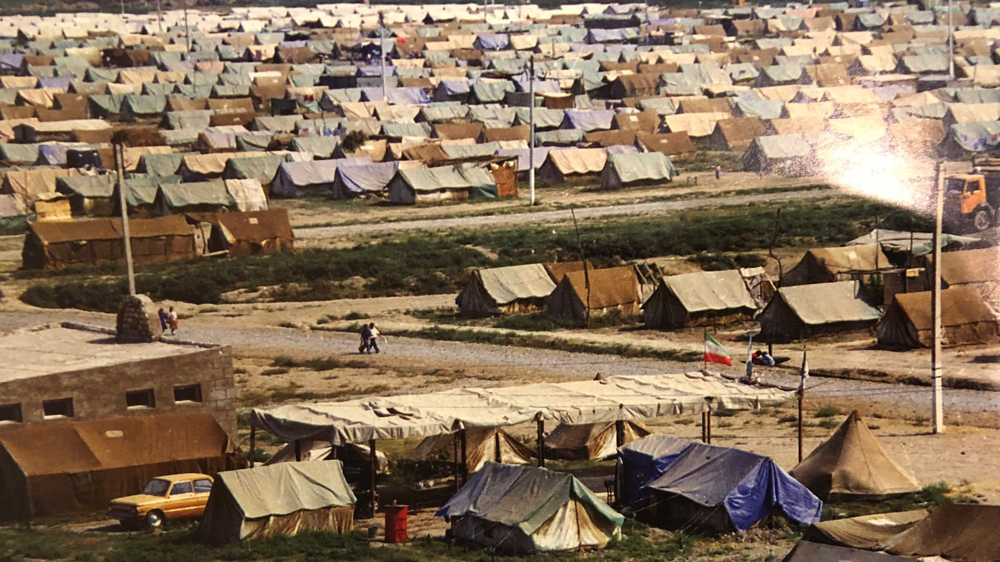 A sea of tents erected for Azerbaijani IDPs and refugees fleeing the war with Armenia. For many the tents would be home for y