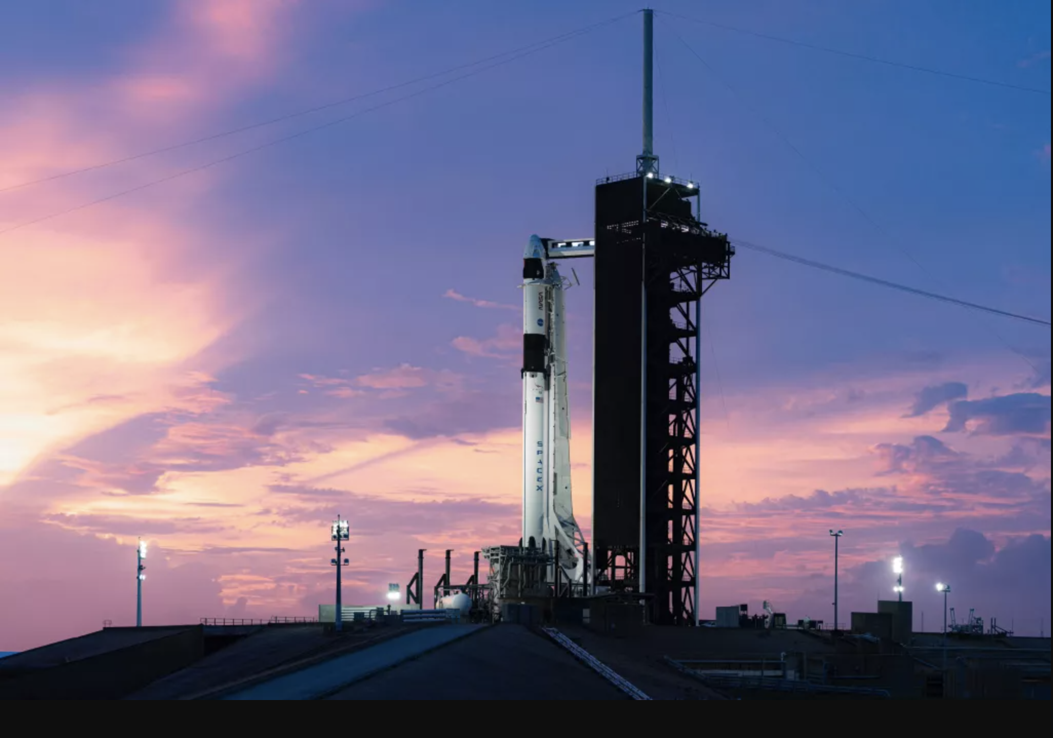 The SpaceX Falcon 9 rocket with the Crew Dragon capsule at Cape Canaveral before the Crew-1 launch on November 14, 2020