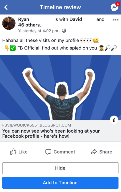 Scam Claims To Reveal Who Visited Your Facebook Profile