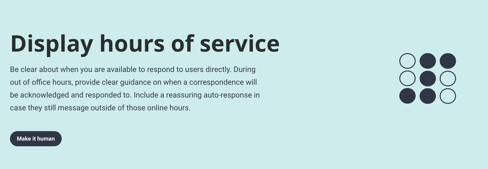 A screengrab from the Design Patterns for Mental Health library site showing the design principle: Display hours of service'
