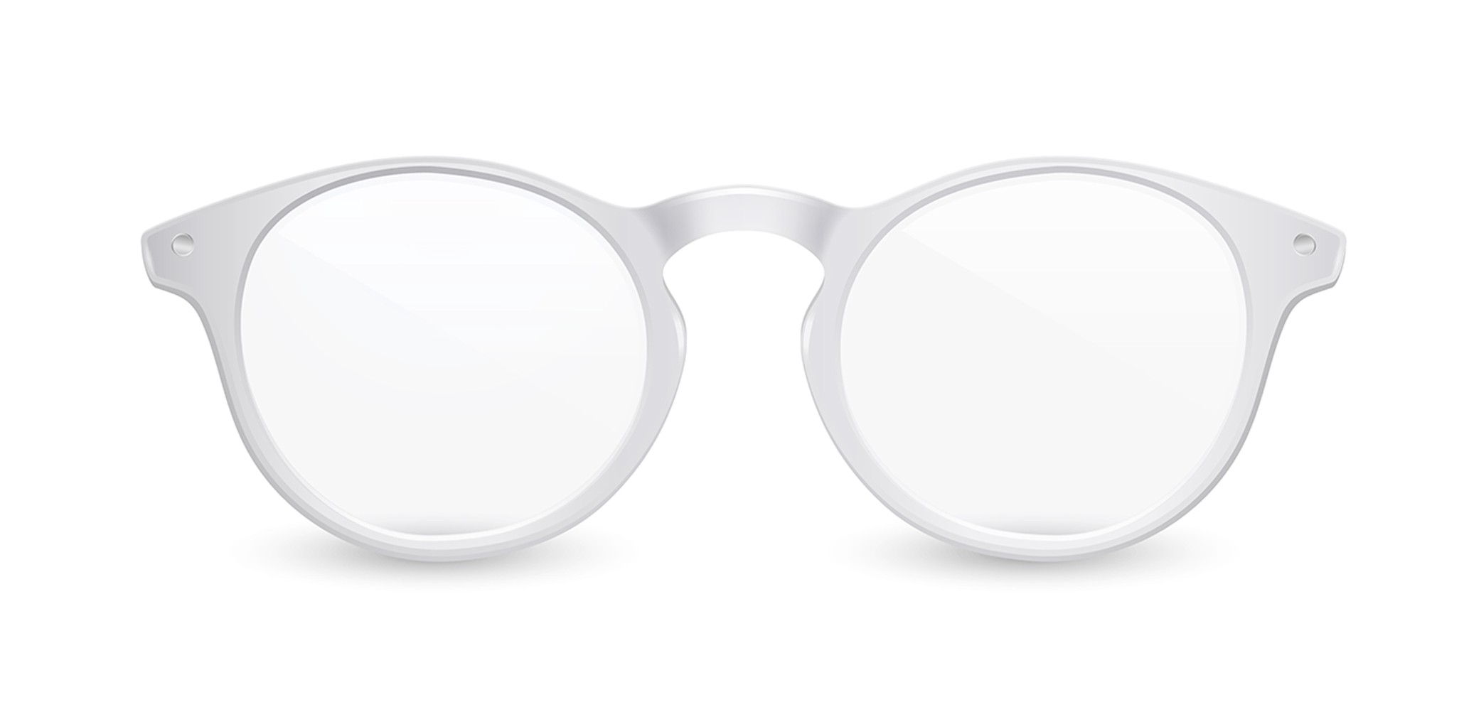3d generated white glasses on white background