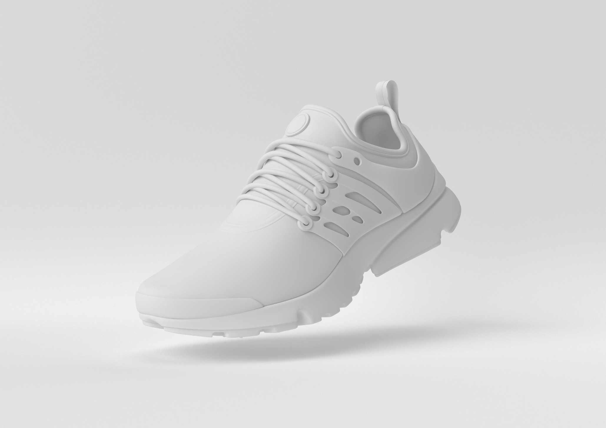 Concept white shoe with white background. 3d render, 3d illustration.