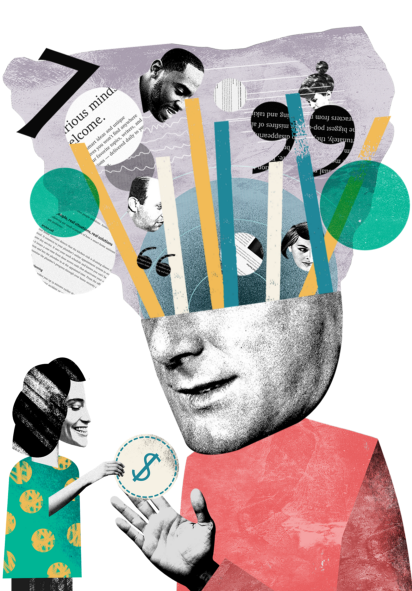 image of a man who has quotes from medium articles and images of people coming out of his head; he is also being handed a dollar sign by a smaller woman