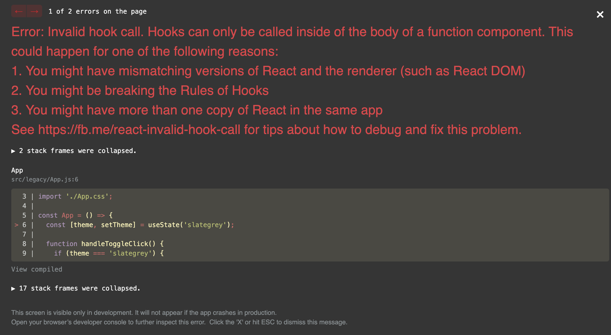 Error: Invalid hook call. Hooks can only be called inside of the body of a function component. This could happen for one of the following reasons: