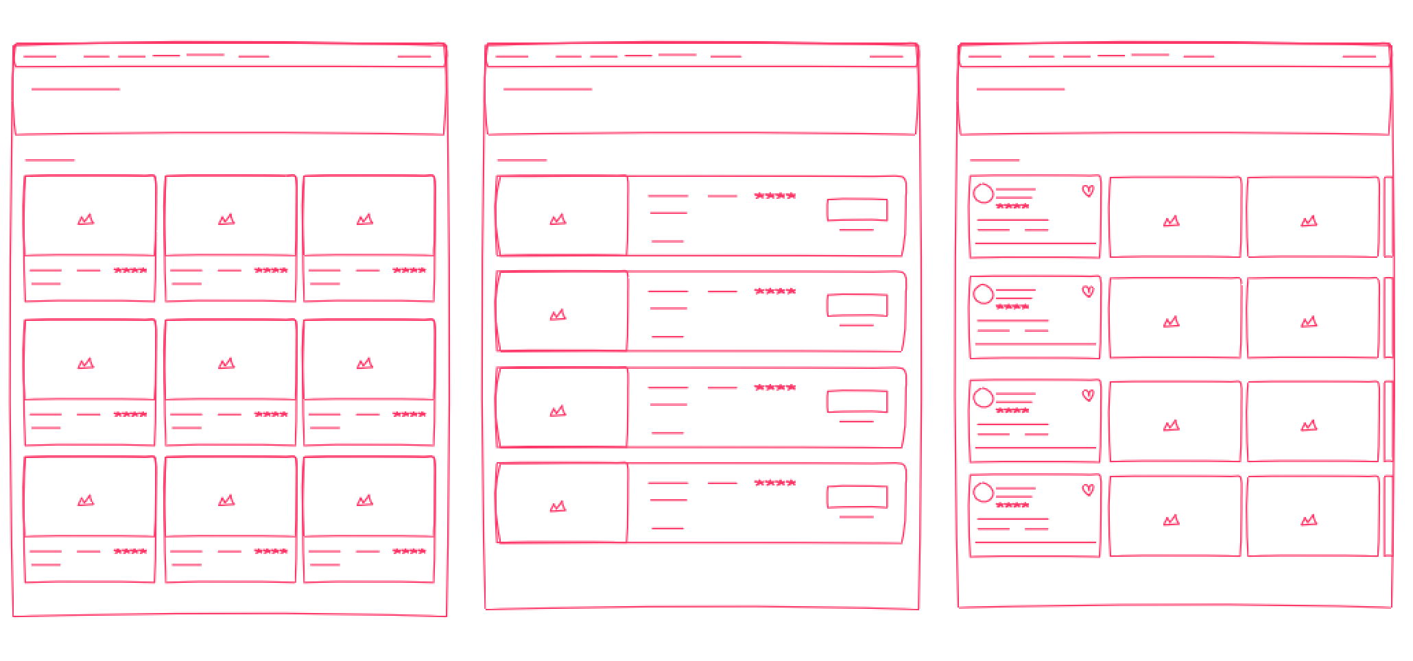 Wireframe sketches of UI concepts.