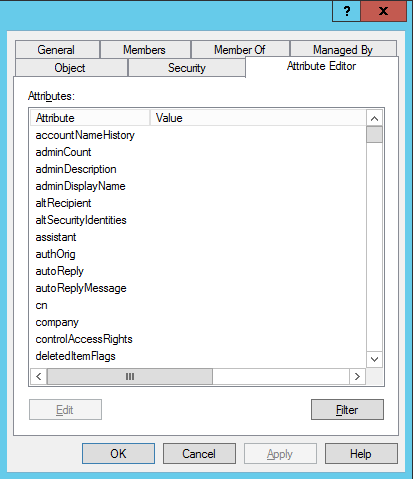 Active Directory Users & Computers attribute editor tab