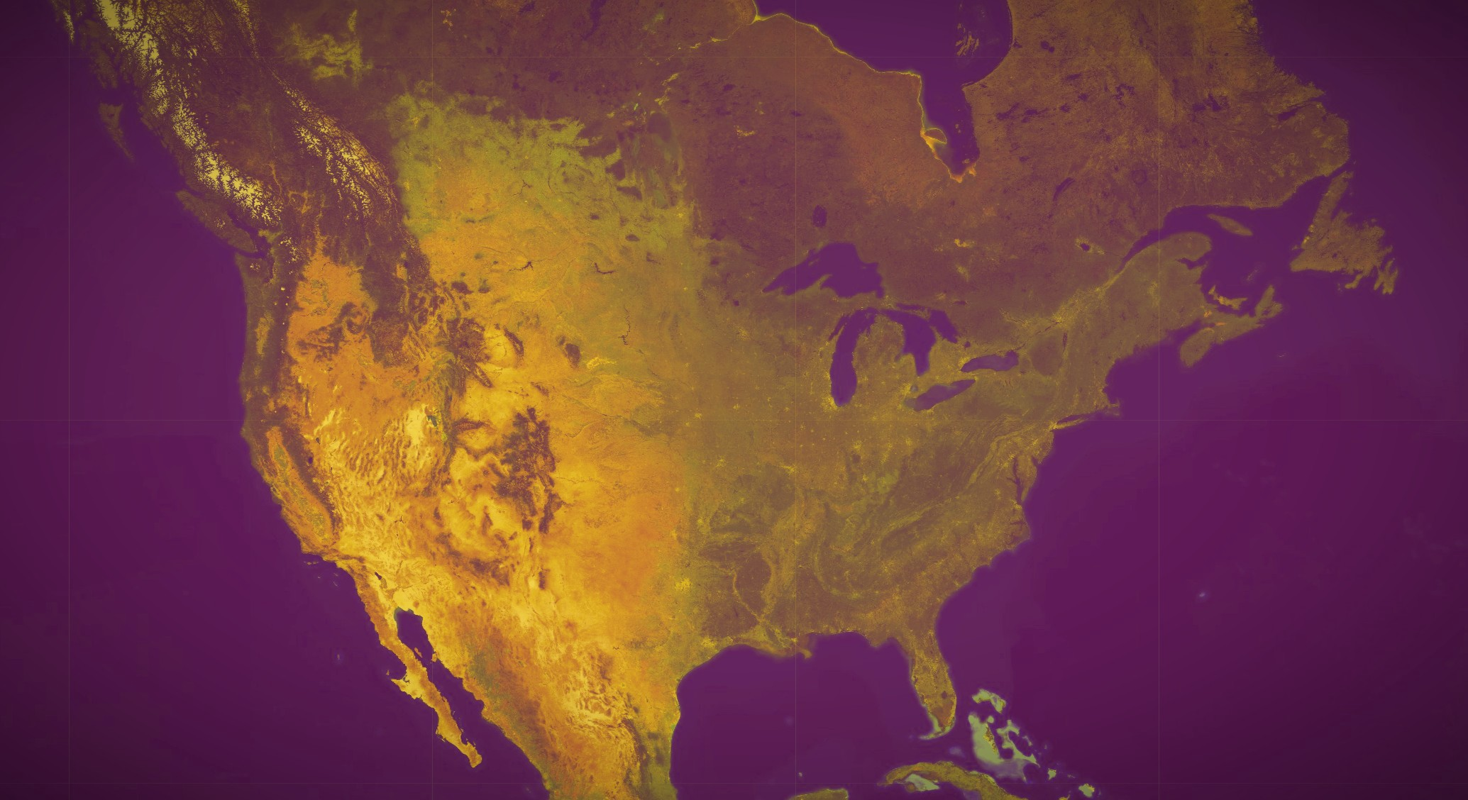A satellite Google Earth view of the North American continent.
