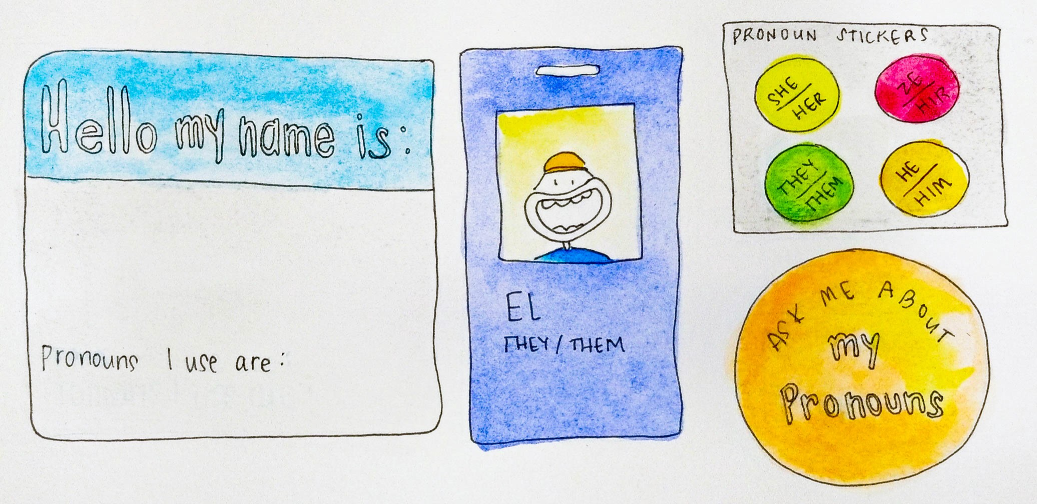 A collection of different types of name tags.