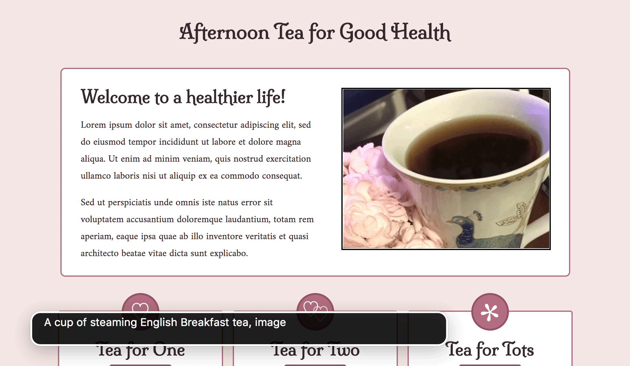Sample web page showing the alt text of an image displayed on the screen.