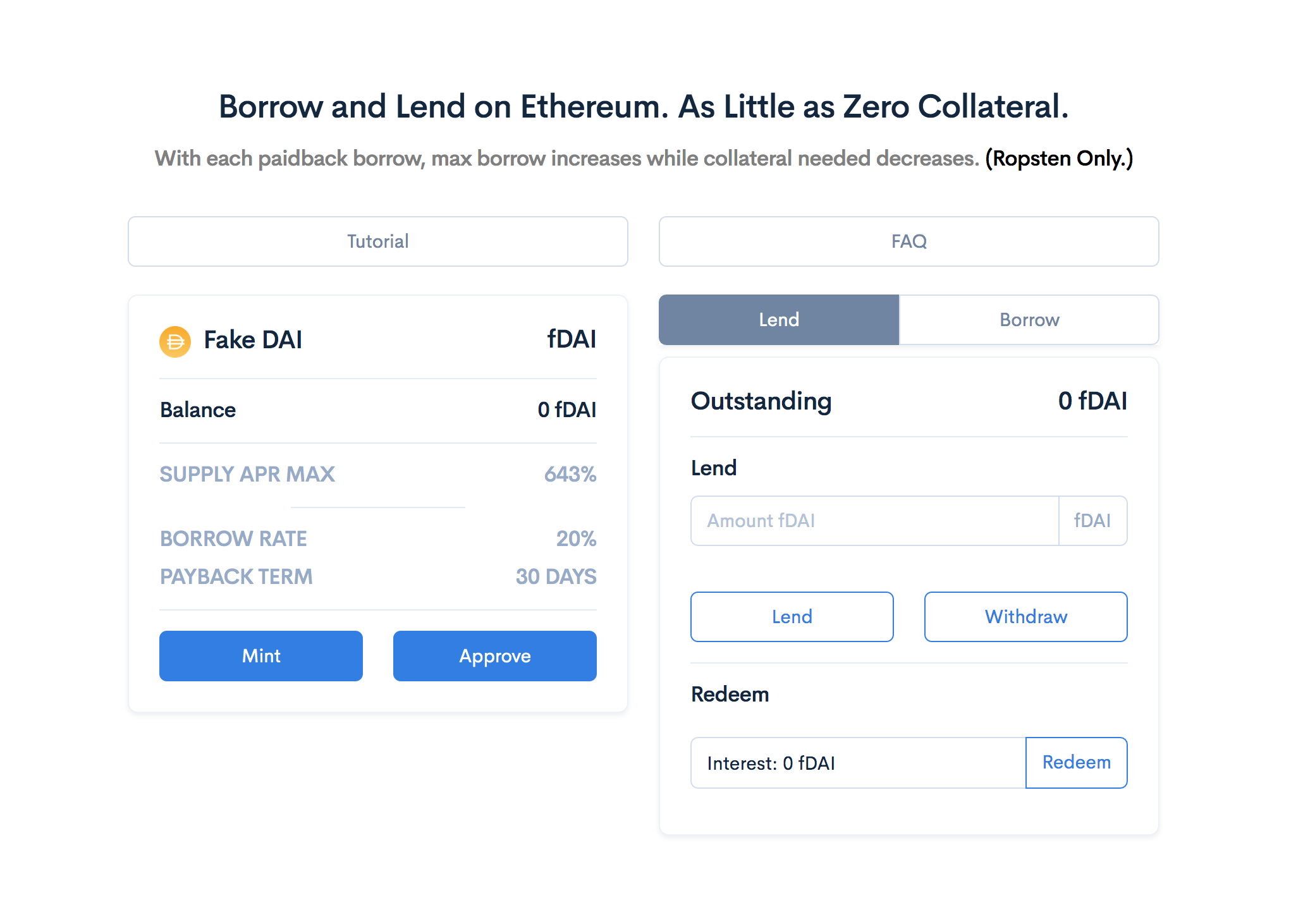 Borrow or lend on Zero Collateral platform.