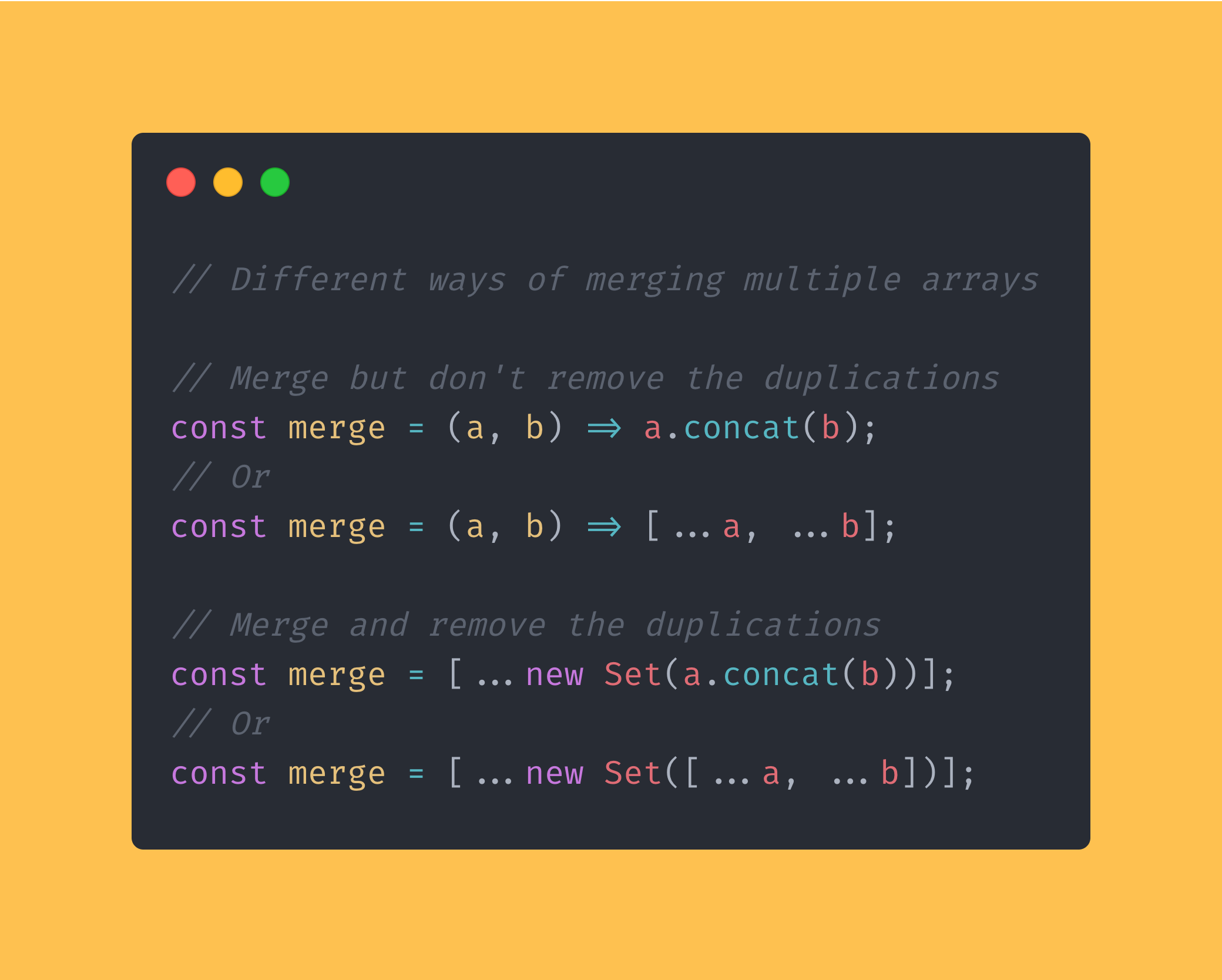 A couple of different ways of merge multiple arrays using JavaScript