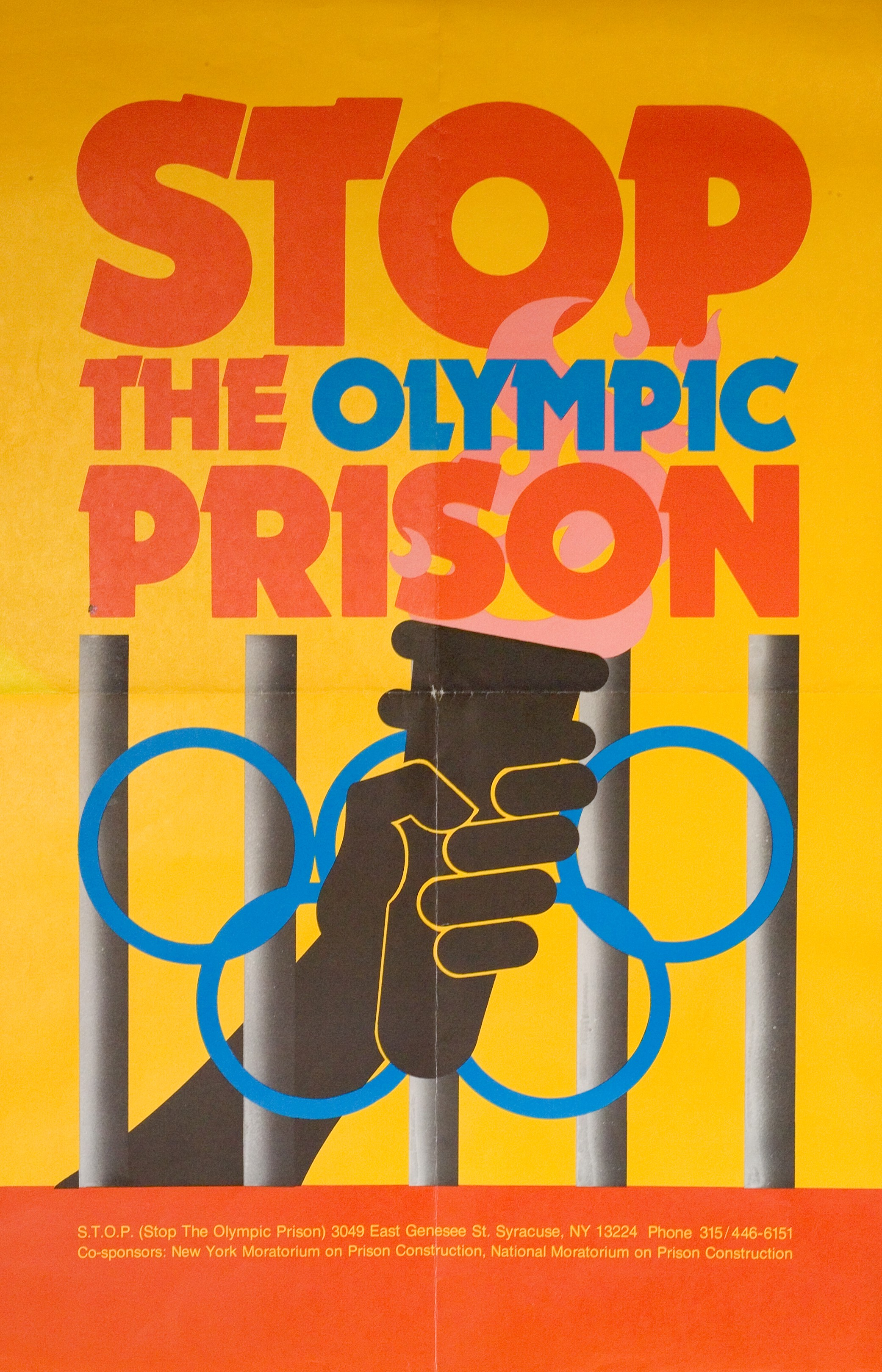 """""""Stop the Olympic Prison,"""" designed by Michael Kroll and Andy Hall."""
