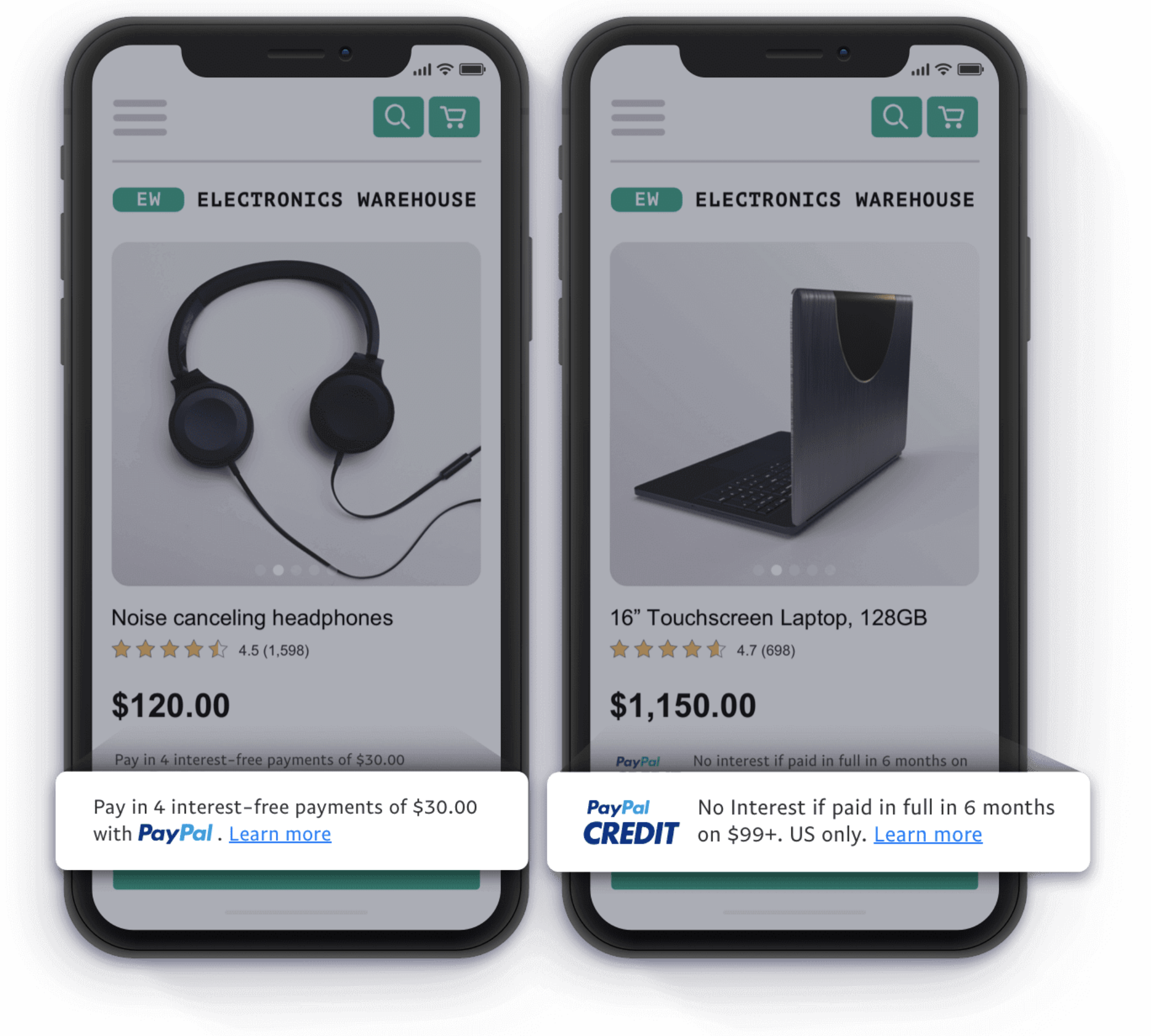 Example of pay later messaging on product pages