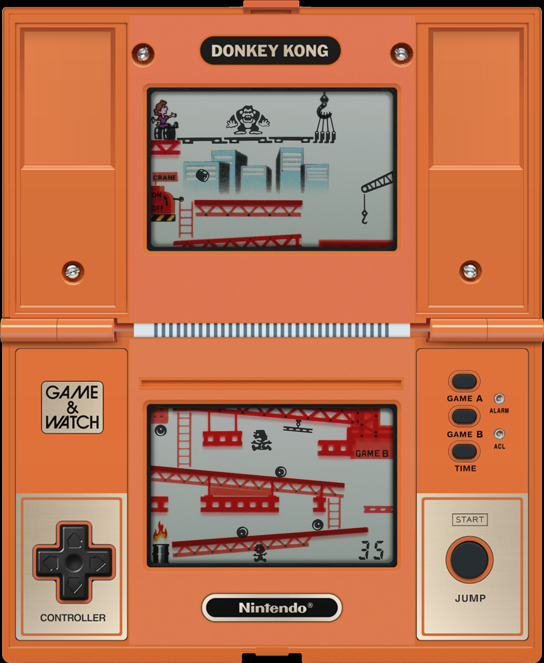 The Donkey Kong handheld Game & Watch unit had dual screens featuring Jumpman climbing girders to rescue Pauline.