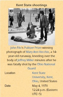 Image of newspaper clipping of Kent State killings