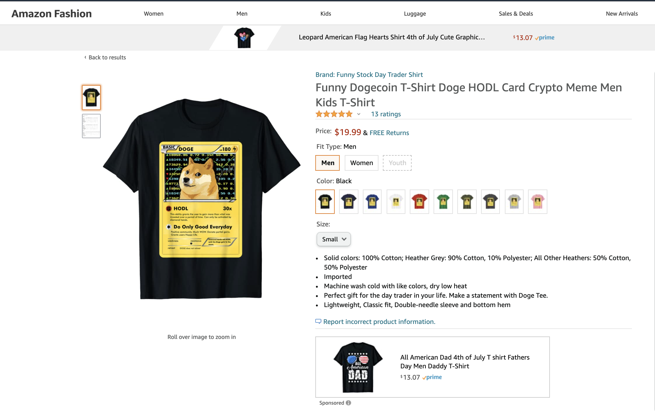 """A screenshot of an Amazon vendor's page featuring a t shirt with the Dogecoin dog displayed on a fictitious Pokemon Card. One of the moves is """"HODL"""", which deals 30x damage. The other being """"Do Only Good Everyday""""."""